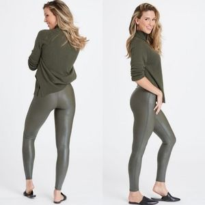 Spanx Faux Leather Leggings High Waist Rich Olive